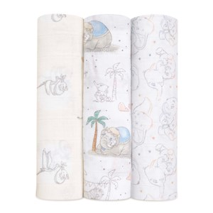Image of Aden + Anais 3-Pack Dumbo Swaddles White one size (1672597)