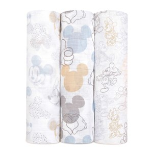 Image of Aden + Anais 3-Pack Mickey & Minnie Swaddles White one size (1672595)