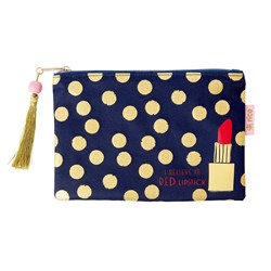 Rice Glitter Dotted Pencil Case Navy