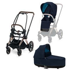 Cybex Stroller builder ePriam Frame inclusive  Seat Hardpart Rosegold Seat Pack Lux Carrycot Nautical Blue