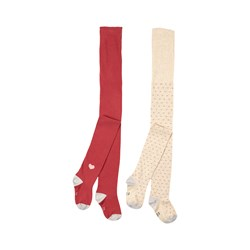 Petit Bateau 2-Pack Tights Red/White