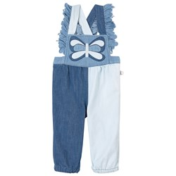 Stella McCartney Kids Butterfly Denim Overalls Blue