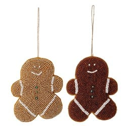 Bloomingville 2-Pack Gingerbread Glass Beads Christmas Ornaments Brown