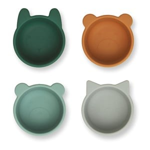 Image of Liewood 4-Pack Malene Silicone Bowls Green one size (1831683)
