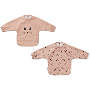 Image of Liewood 2-Pack Merle Cape Bibs Cat/Rose one size (1831691)