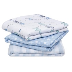 Aden + Anais 3-Pack Rising Star Musy Muslin Cloths Blue