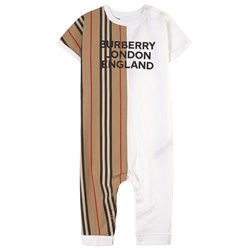 Burberry Logo Print One-piece Archive Beige/White