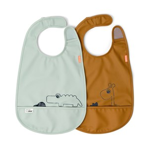 Image of Done by Deer 2-Pack Sea Friends Bibs Mustard One Size (1673599)