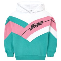 MSGM Color Block Logo Hoodie Green