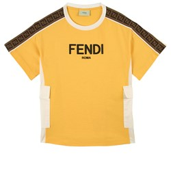 Fendi FF Logo Tape T-shirt Gul