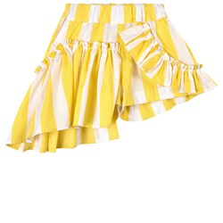 Marques Almeida Stripe Frill Shorts Yellow/White