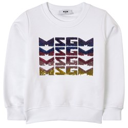 MSGM Sequin Logo Sweatshirt White