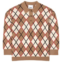 Burberry Argyle Intarsia Polo Shirt Brown