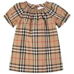 Burberry Ruched Vintage Check Dress Set Archive Beige