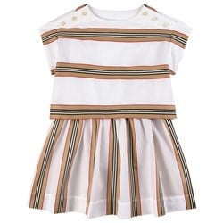 Burberry Icon Stripe Two-Piece Dress Set White
