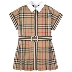 Burberry Contrast Collar Vintage Check Dress Archive Beige