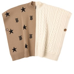 Burberry Star and Monogram Motif Poncho Beige