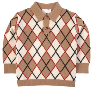 Image of Burberry Argyle Intarsia Polo Shirt Brown 12 mdr (1751833)