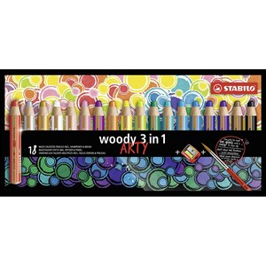 Image of STABILO 18-Pack Woody 3-in-1 Coloring Pencils Multicolor 9+ years (1673931)
