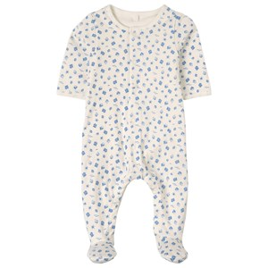 Image of Petit Bateau 2-in-1 Boat Print Footed Baby Body White 12 mdr (1815726)
