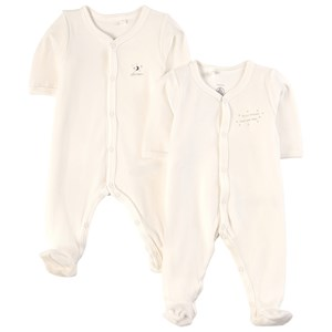 Image of Petit Bateau 2-Pack Footed Baby Bodies White 12 mdr (1816449)