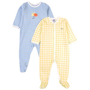 Image of Petit Bateau 2-Pack Footed Baby Bodies White 18 mdr (1816383)