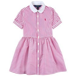 Ralph Lauren Striped Skjortklänning Pink/White