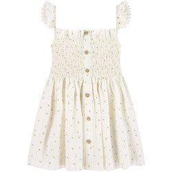 Mayoral White Ditsy Floral Smocked Button Dress
