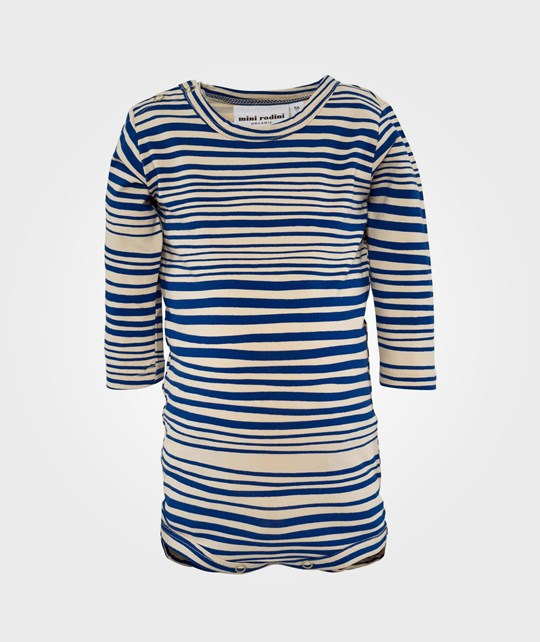 Mini Rodini Stripe Aop Ls Body, Blue Blue