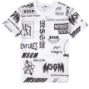 Image of MSGM All Over Logo Print T-shirt Hvid 10 år (1781794)