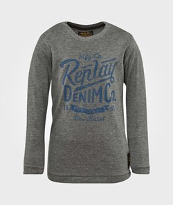 Replay T Shirt Long Sleeve Melange Dark Grey