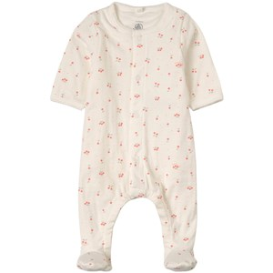 Image of Petit Bateau 2-in-1 Cherry Print Footed Baby Body White 12 mdr (1815734)