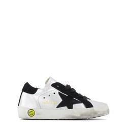 Golden Goose Laminated Leather Superstar Sneakers Silver
