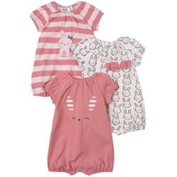 Mayoral 3-Pack Bunny Rompers Pink
