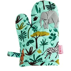 Rice Kids Cotton Oven Mitten with All  Over Jungle Animals Print Green