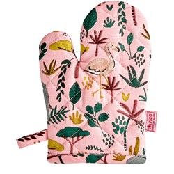 Rice Kids Cotton Oven Mitten with All  Over Jungle Animals Print Coral