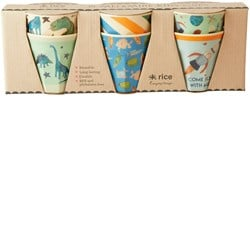 Rice 6-Pack Melamine Cups Dinos