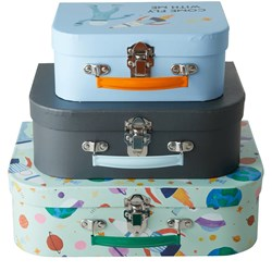 Rice Kids Cardboard Suitcase with Space Print Set of 3