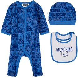 Moschino Kid-Teen 3-delat Bear Print Baby Set Blått