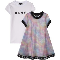 DKNY White Multi Marble Logo Dress