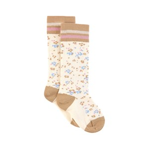 Image of Paade Mode Beige Floral Cotton Knee Socks (1861911)