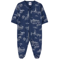 Petit Bateau Architecture Print Footed Baby Body Navy