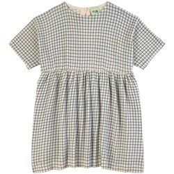FUB Checked  Dress Ecru/Dusty Blue