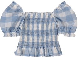 Mayoral Checked Smocked Top Blue