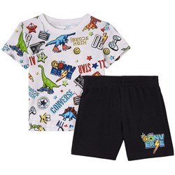 Converse Printed T-Shirt And Shorts Set White