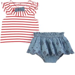 Mayoral Striped Top And Bloomers Set Red