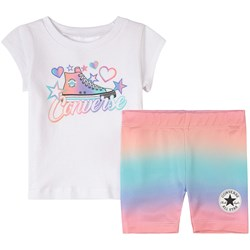 Converse Logo Graphic T-shirt And Shorts Set White
