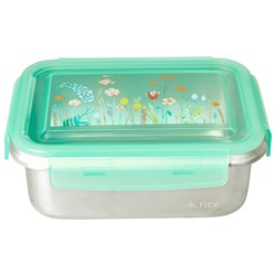 Rice Stainless Steel Rectangular Lunchbox with Summer Flowers Print