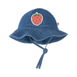 Mini Rodini Strawberry Denim Sun Hat Blue