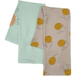 Bobo Choses 2-Pack Lion As A Pet Muslin Blankets Green